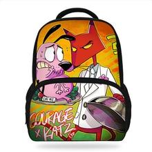 Cartoon Courage The Cowardly Dog Orthopedic Kindergarten Backpack Grade 1-2 School Bags For Kid Light Books Bag Boys/Girls