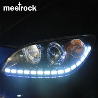 Meetrock Newest 2pcs Double Color Crystal Eye LED Daytime Running Light DRL Turn Signals External Lights