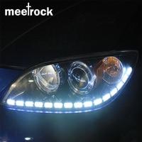 Meetrock Newest 2pcs Double Color Crystal Eye LED Daytime Running Light DRL Turn Signals External Lights