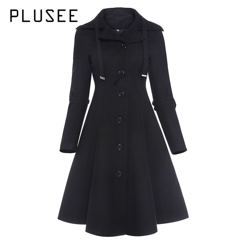 Plusee Fashion Long Medieval Trench Coat Women Autumn Winter Asymmetric Black Gothic Coat Elegant Women Coat