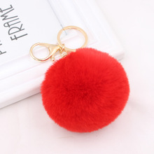 Fur Ball KeyChain Creative Car Ornaments Plush Bag Pendant 8CM Rabbit Women Gift