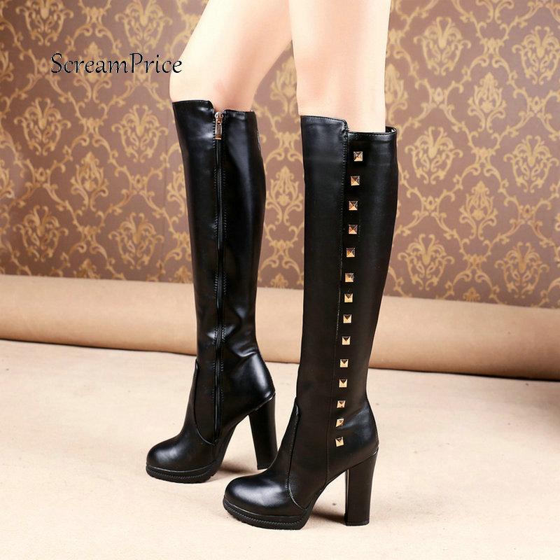Winter Platform Side Zipper Knee High Boots Fashion Rivet Women Thick High Heel Shoes Black White
