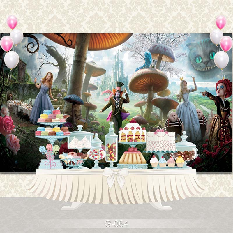 Vinyl Photography Background Magic Movie Alice in wonderland Birthday Party Children Backdrops for Photo Studio G-064