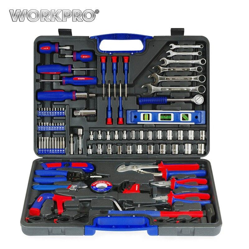 WORKPRO 139 stück Hause Tools Haushalt Werkzeug Set Schraubendreher Set Zangen Steckdosen Schraubenschlüssel