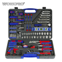 WORKPRO 139PC Home Repair Tools Set Screwdrivers Bits Set Pliers Sockets Spanner Wrench Saw Hammer Household Tool Kits