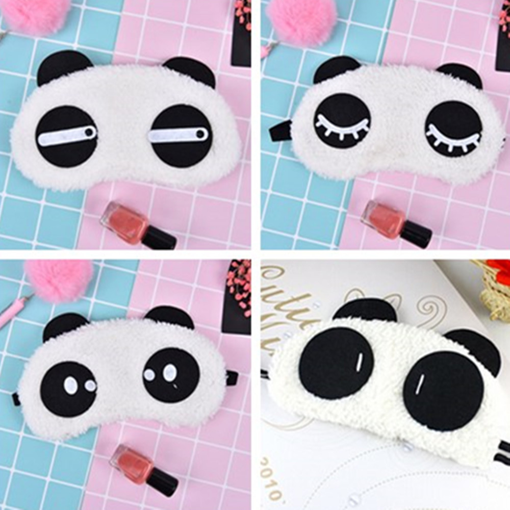 1PCS Cute Face White Panda Eye Mask Eyeshade Shading Sleep Cotton Goggles Eye Mask Sleep Mask Eye Cover Health Care