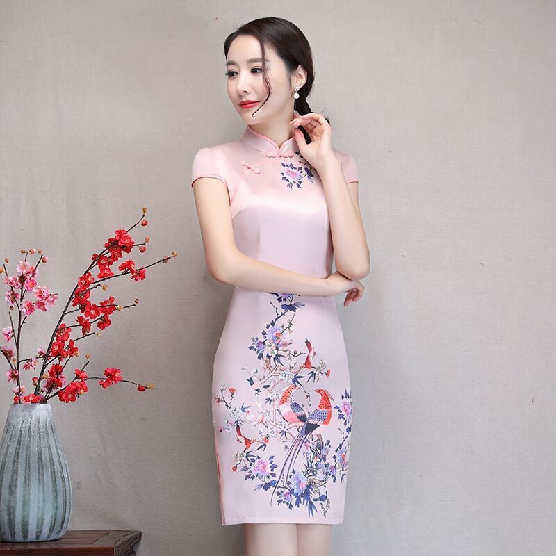 New Arrival Women's Satin Mini Cheongsam Fashion Chinese Style Dress Elegant Slim Qipao Clothing Size S M L XL XXL 368483 20