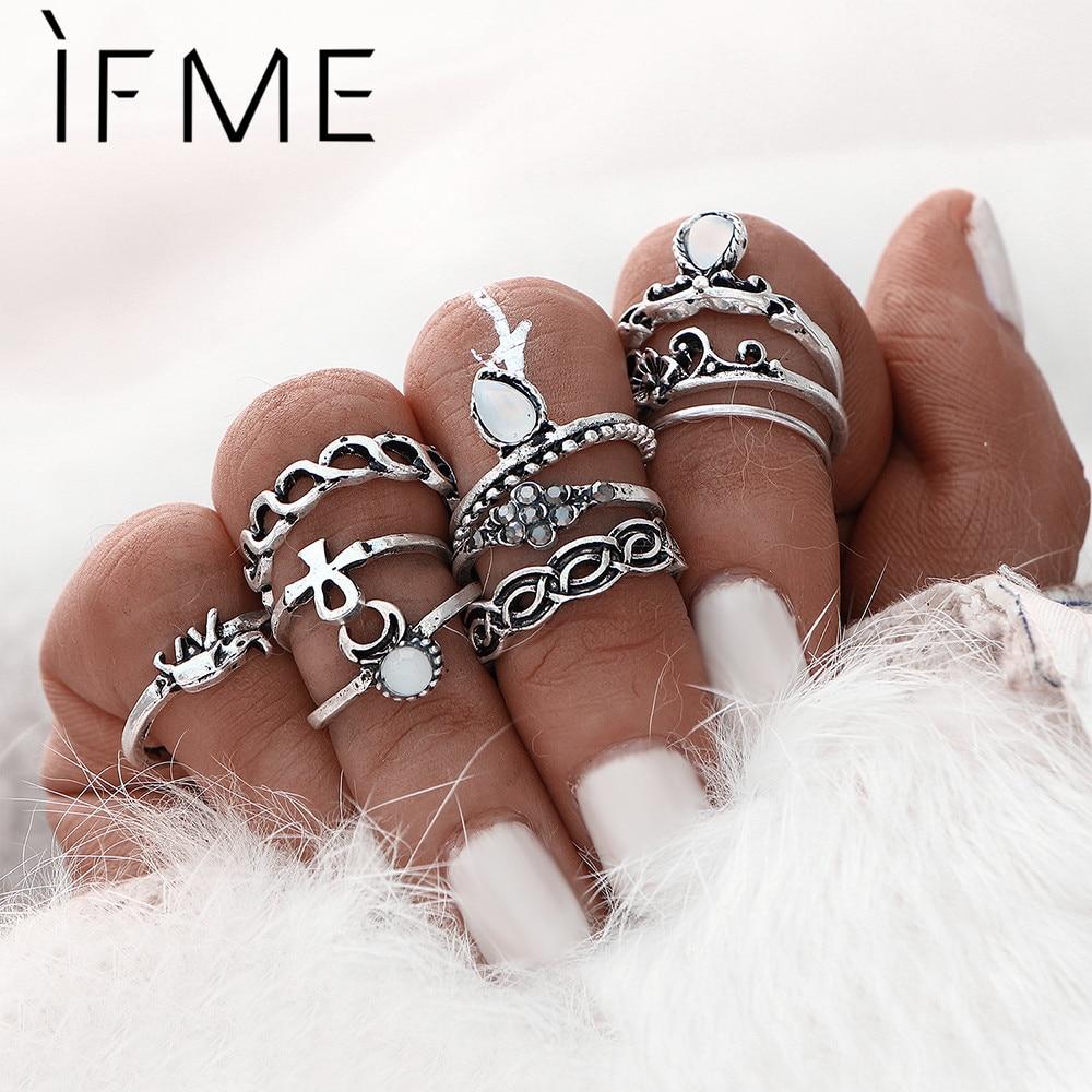 10 pcs/Set Elephant Moon Retro Boho Gold Color Ring Set Arrow Midi Mid Finger Rings For Weeding Engagement Gift Women Party