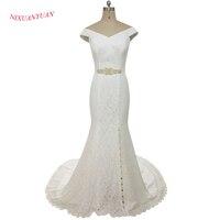 NIXUANYUAN 2017 New Sexy Side Split V Neck White Ivory Soft Lace Wedding Dress 2017 Mermaid