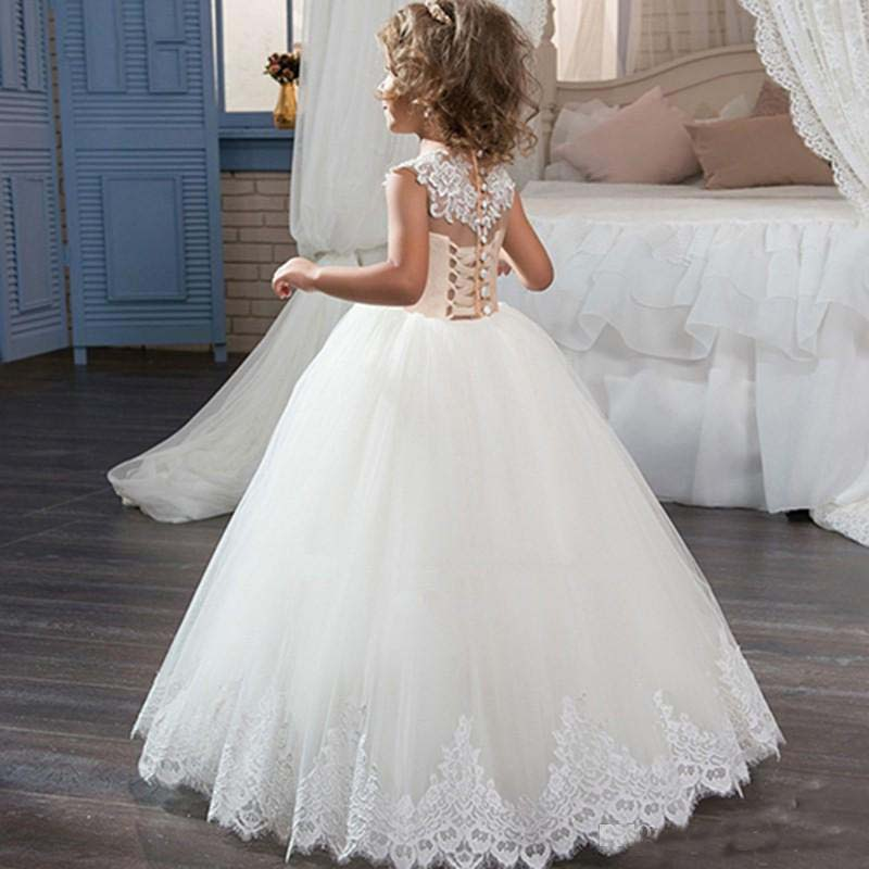 db49333dd2d Lace Ball Gown Flower Girl Dresses For Weddings 2017 Cheap Sheer Crew  Champagne White Tulle Bow Sash Mother Daughter Dresses-in Family Matching  Outfits from ...