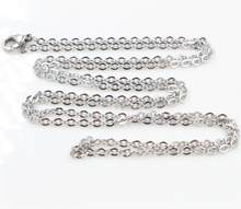 ( No Fade ) 5pcs /lot 3x2mm Man Women Chain Necklace 316L Stainless Steel O Link Pendant Necklace Fashion Jewelry 50CM 70CM Long(China)