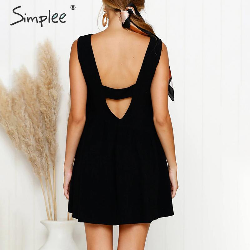 CUERLY Bohemian o neck women short dress Elegant sleeveless ladies summer sundress Sexy backless solid plus size dress 2019 in Dresses from Women 39 s Clothing
