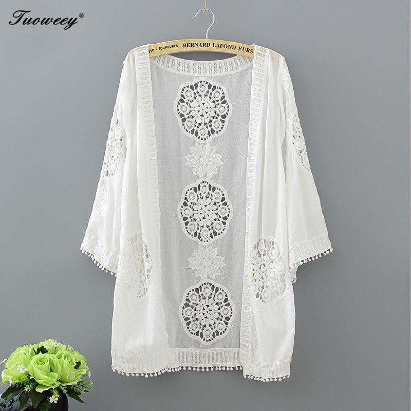 2019 Casual Loose Woman Shirt Fashion Half Sleeve Kimono Cardigan Blouses Hollow Out White Lace Blouse Kimono Summer Women Tops blouse