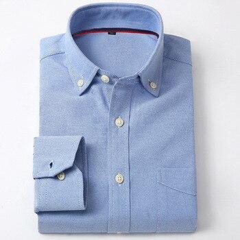 Men's Shirt Full Sleeve Regular Fit Solid & Plaid / Striped shirt Oxford Mens Dress Shirts Blue Casual Camisa Social 5XL 6XL pinkwin blue 6xl