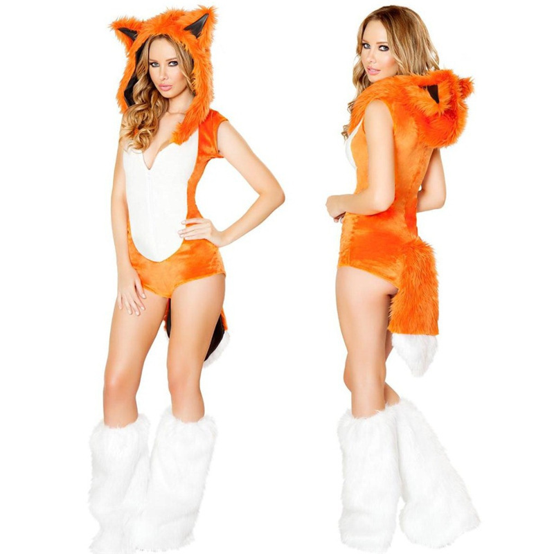 7c3e27ec995 COULHUNT 2019 Fox Costumes Halloween Party Outfit Adult Women Animal Cosplay  Costume Sexy Halloween Fox Jumpsuits COSPLAY