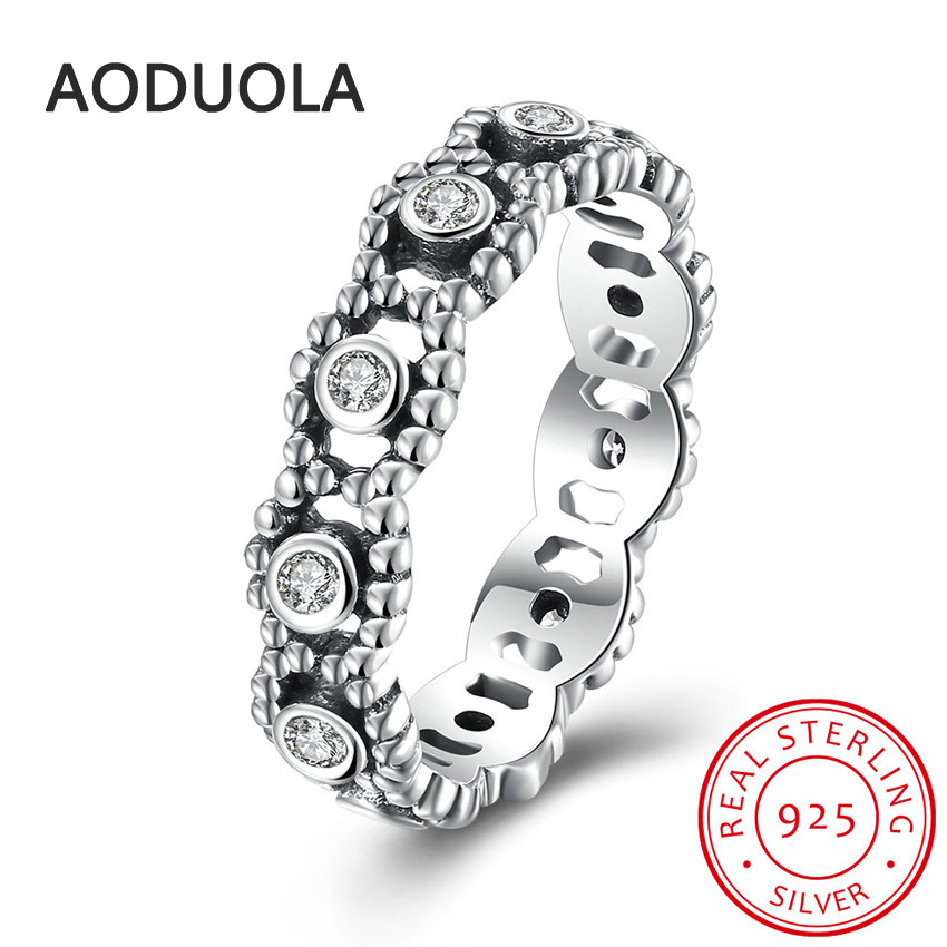 925 Sterling Silver Ring Her Majesty white CZ Womens Rings for Ladies and Girls Finger Lover wedding Gift