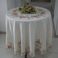Rustic fashion embroidery fabric dining table cloth table mat round table cloth tablecloth cutout cover towel colorful rose