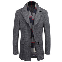 LEFT ROM 2019 Fashion male keep warm in winter high grade slim Fit Woolen cloth coat/men's cashmere business Trench coat S XXXL