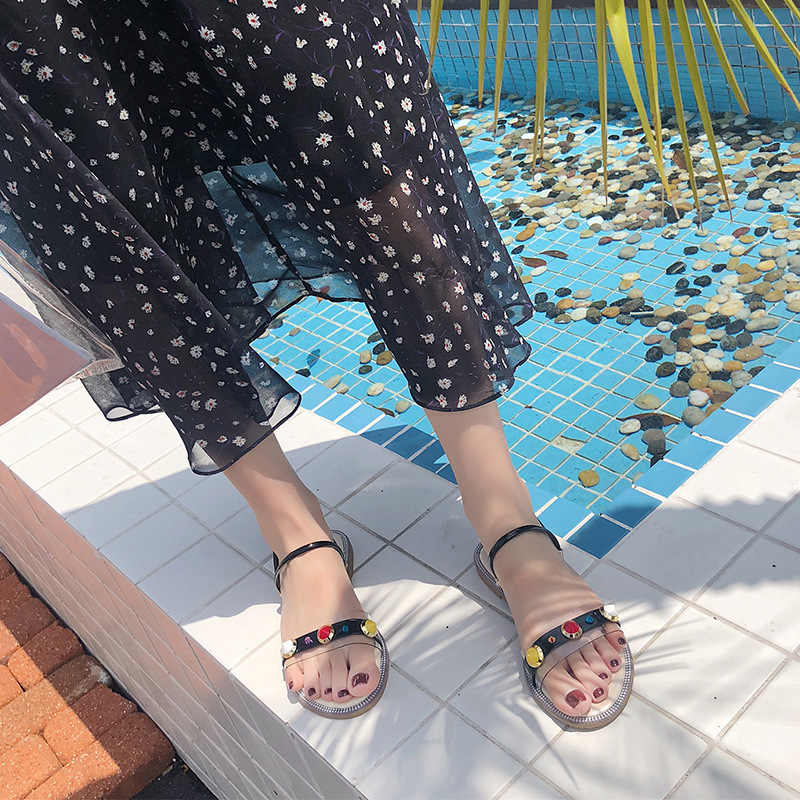 Hưng Yau Đế Bằng Giày Cho Bạn Nữ Thoải Mái Dây Mở Peep Toe Dép Nữ Classic Bãi Biển Đinh Tán Size 9
