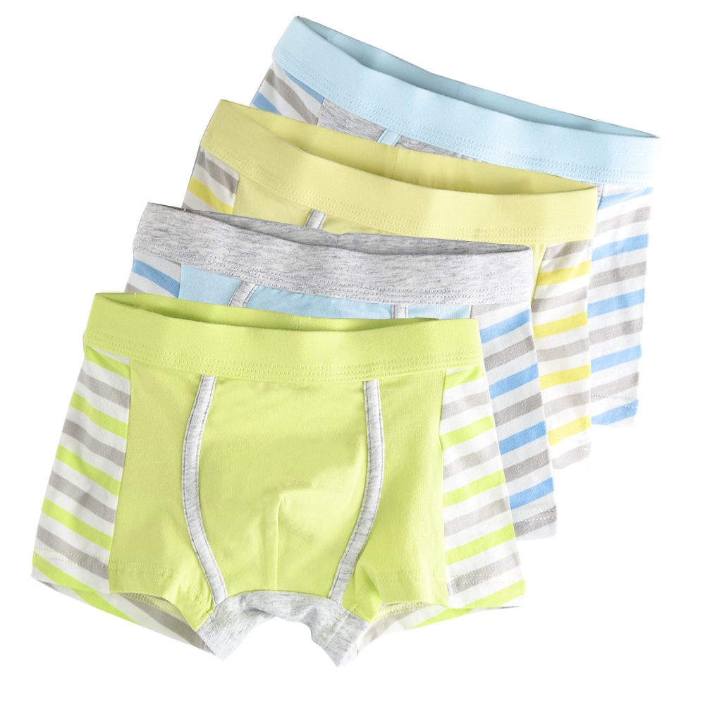4 Piece Kids Boys Underwear Cartoon Children's Shorts Panties for Baby Boy Boxers Stripes Teenager Underpants 4-14T 1