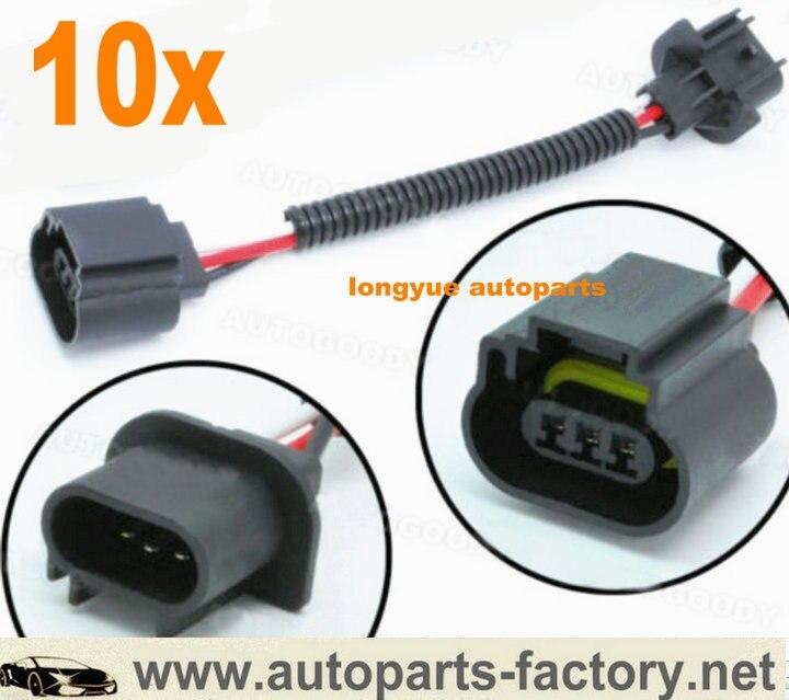 Longyue 10pcs 9008 Hb2 H13 Wire Harness Socket Headlight
