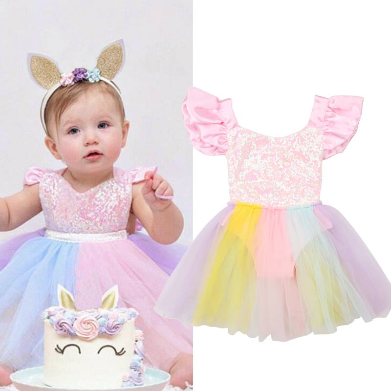 ef431dd0fdd Rompers for Newborn Baby Girl Beautiful Rainbow Ball Gown Romper Dress  Infant Jumpsuit Costumes for Baby