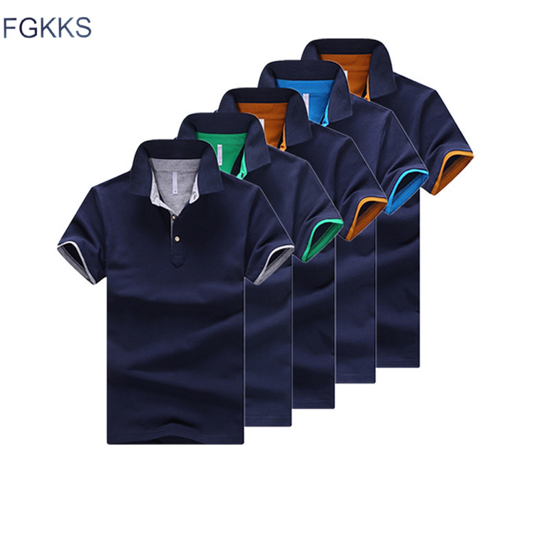 FGKKS Mens   Polos   Shirt Brand Top 2019 Spring Summer Male Short Sleeve Slim Fit Solid Color Tee Top Men   Polo   Shirt 10 Color