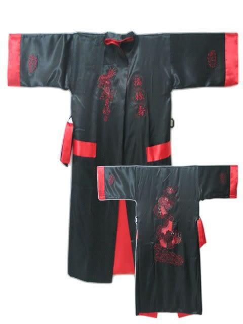 Черный Красный Реверсивный Двуликий Китайских людей Шелковый Атлас Одеяние Кимоно Вышивка Ванна Платье Дракон S0004
