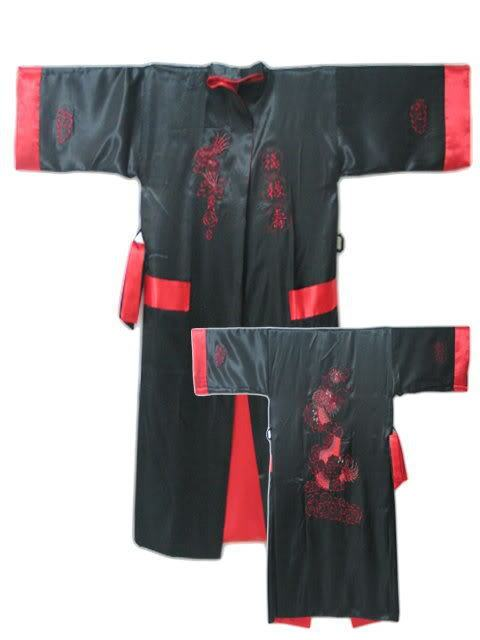 Black Red Reversible Two-face Chinese Men's Silk Satin Robe Kimono Embroidery Bath Gown Dragon S0004