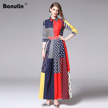 New 2019 Designer Runway Dress Long Sleeve Maxi Womens Turn Down Collar Hit Color Stripe Dot Print Vintage