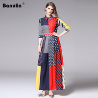 New 2019 Designer Runway Dress Long Sleeve Maxi Dress Women's Turn Down Collar Hit Color Stripe Dot Print Vintage Long Dress