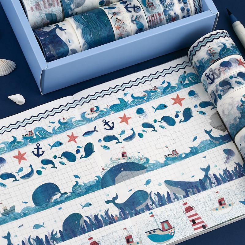 24 pcs/set Ocean whale series Bullet Journal Washi Tape set Decorative Adhesive Tape DIY Scrapbooking Sticker Label