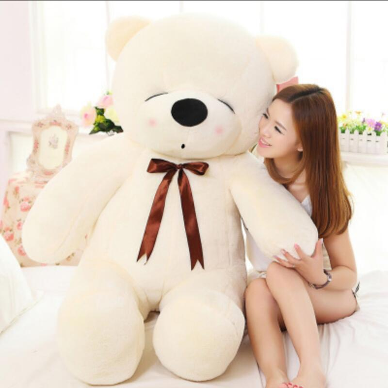 ФОТО 120cm Big Size New Arrival Teddy Bear Plush Toy Ribbon Bear Doll Stuffed Animal For Kids Children Birthday Gift
