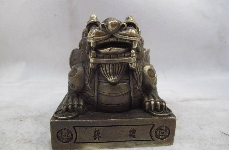 Chinese Royal Classical Copper Bronze lion Kylin Kirin Imperial jade seal statueChinese Royal Classical Copper Bronze lion Kylin Kirin Imperial jade seal statue