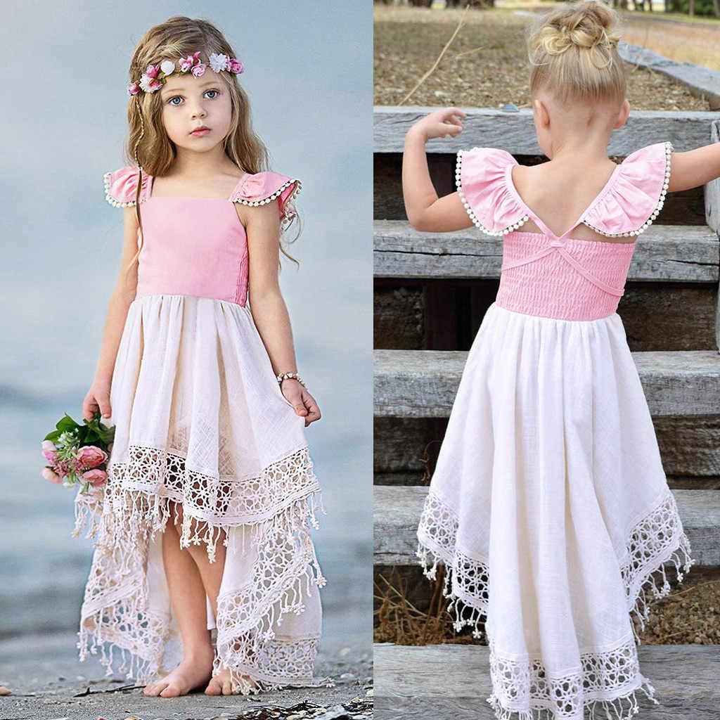 Платье для девочек летние вечерние кружевные платья принцессы с кисточками и открытой спиной для маленьких девочек новое поступление 2019 года, vestido infantil