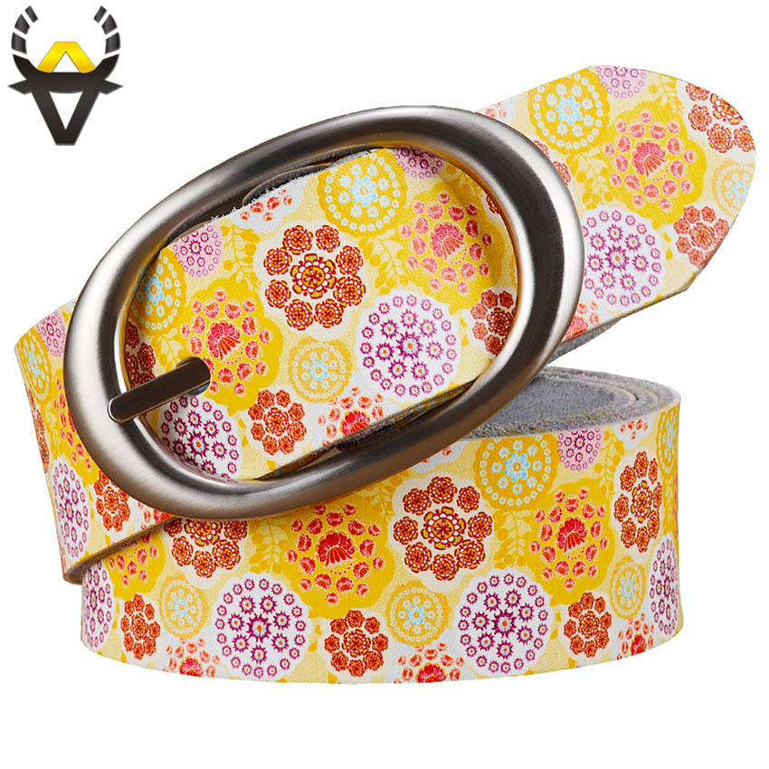 Fashion Genuine Leather Belts For Women Printing Floral Woman Belt Quality Pin Buckle Cow Skin Waist Strap Female Width 3.5 Cm