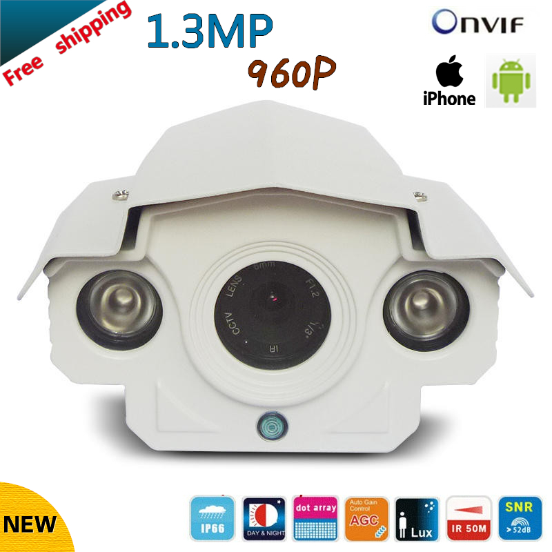 ФОТО 2017 NEW 1.3MP 960P H.264 Securiy Waterproof HD Network CCTV Camera Support  P2P and ONVIF2.0 Free shipping