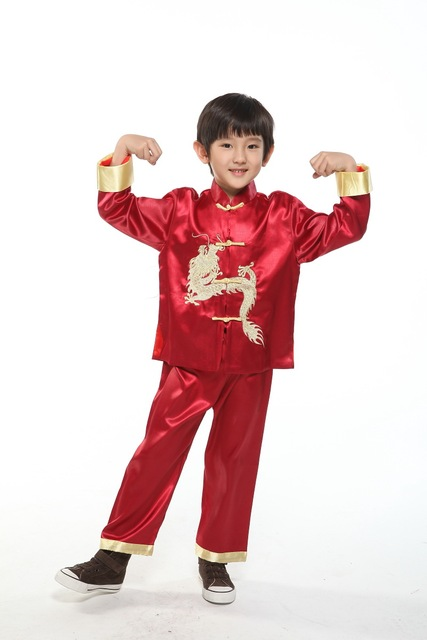 Calça + Top de Manga Longa Menino Dragão Kung Fu Chinês Tradicional Traje Crianças Traje Chinês Tang