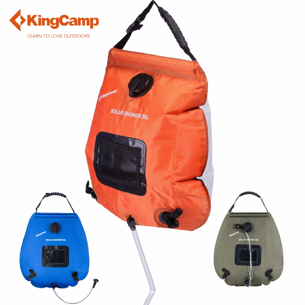kingcamp waterproof dry bag 20l camping solar shower bag portable outdoor hiking solar energy heated camp shower bags