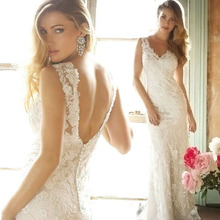 Top Selling V Neck Trumpet Mermaid Wedding Dresses Lace Applique Beads Floor Length Bridal Gowns yk1A589