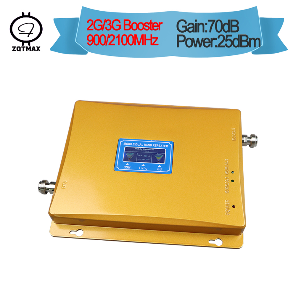 ZQTMAX Dual Band cellular signal booster GSM repeater 900 3G UMTS 2100 Cellphone Amplifier cell phone signal booster