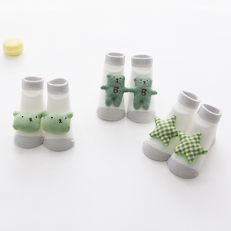 3Pairs/Lot Unisex Baby Bow Socks Floor Sock Baby Boys Socks Girls Kids Children Cute Cartoon Rabbit Bear Pattern Socks Cotton