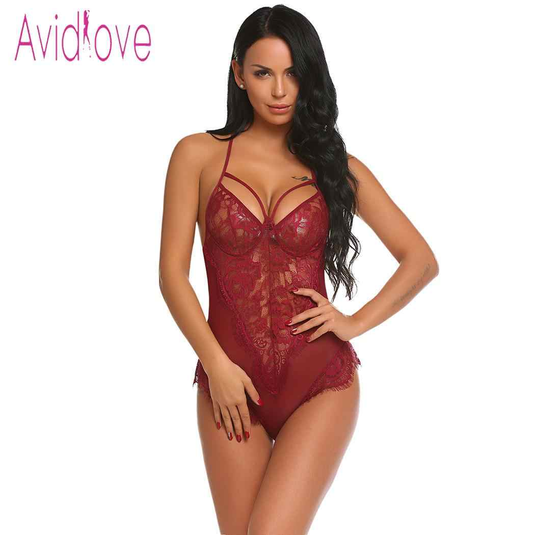 5bd89cc66cf ... Avidlove Women Bodystocking Sexy Costumes Lingerie Hot Erotic Bodysuit  Halter Sheer Floral Lace One Piece Teddy ...