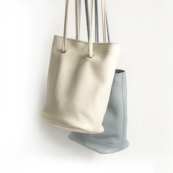 New Women Genuine Leather Handbags White Bucket Shoulder Bags Ladies Cross Body Bags Small Capacity Ladies Fashion Design Bag
