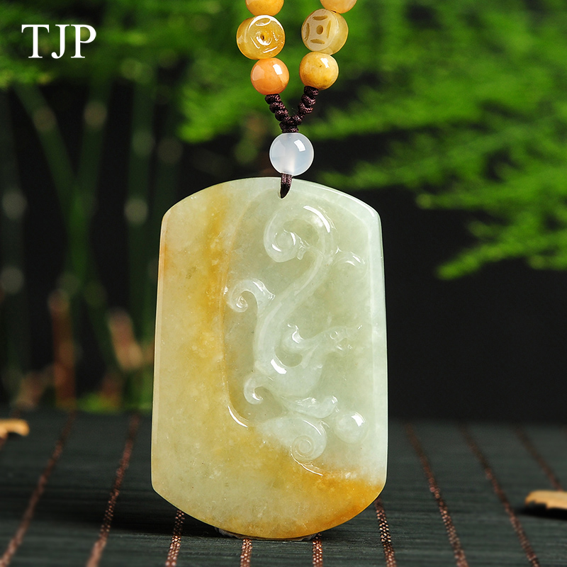Yellow Emerald jewelry Pendant Fine jewelry Green jade Dragon fine jewelry Natural stone necklace Jade Boutique Free shipping home improvement marble stone mosaic tiles natural jade style kitchen backsplash art wall floor decor free shipping lsmb101