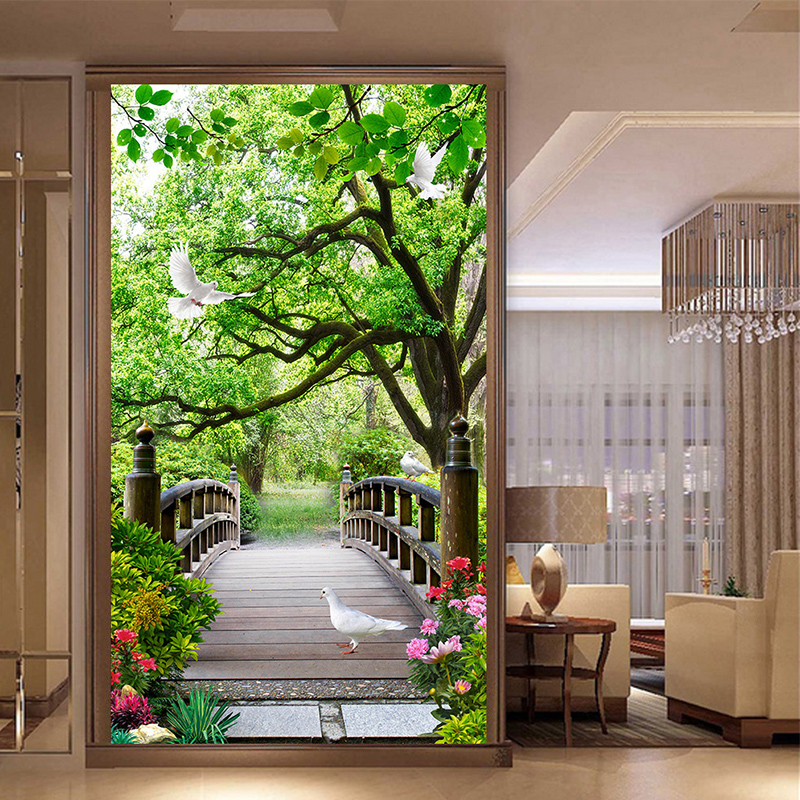 Photo Wallpaper Modern Forest Wood Bridge 3D Wall Murals Living Room Hotel Entrance Backdrop Wall Decor Nature Landscape Fresco