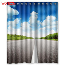 WONZOM Straight Highway Shower Curtains with 12 Hooks For Bathroom Decor Modern 3D Polyester Fabric Bath Waterproof Curtain