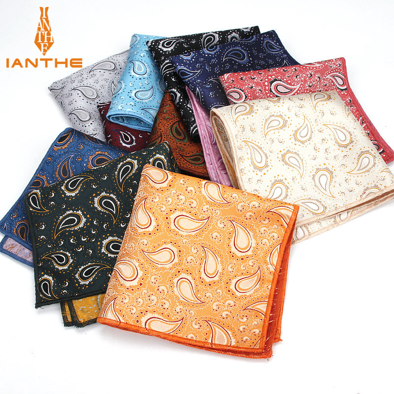 Colorful Polyester Handkerchiefs Woven Paisley Pattern Hanky Men's Business Casual Square Pockets Handkerchief Wedding Hankies