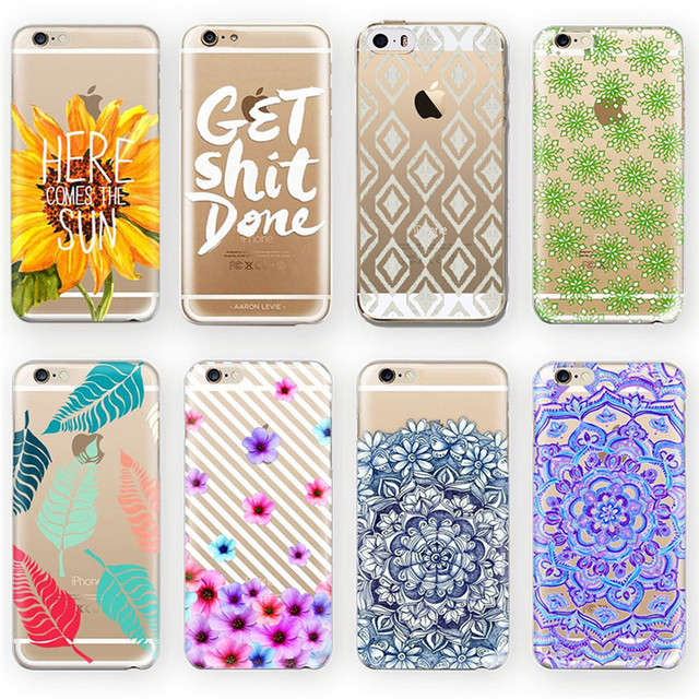 new fashion cases for iphone 6 6s plus leaf flower printed letternew fashion cases for iphone 6 6s plus leaf flower printed letter design pattern fundas shell clear soft silicone tpu back cover