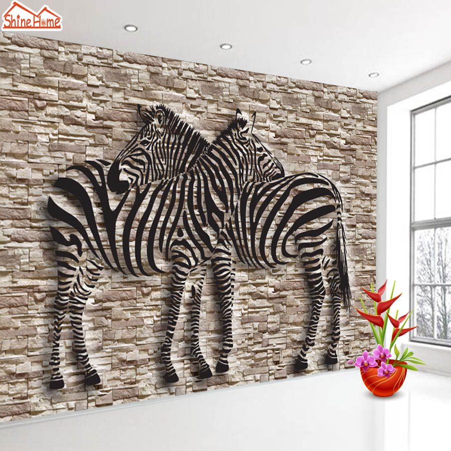 ShineHome-3d Room Brick Wallpaper Black and White Zebra Strip Wallpapers 3d for Walls 3 d Livingroom Wallpapers Mural Roll Paper shinehome 3d room wallpaper black and white zebra strips wallpapers 3d for walls 3 d livingroom wallpapers mural roll paper